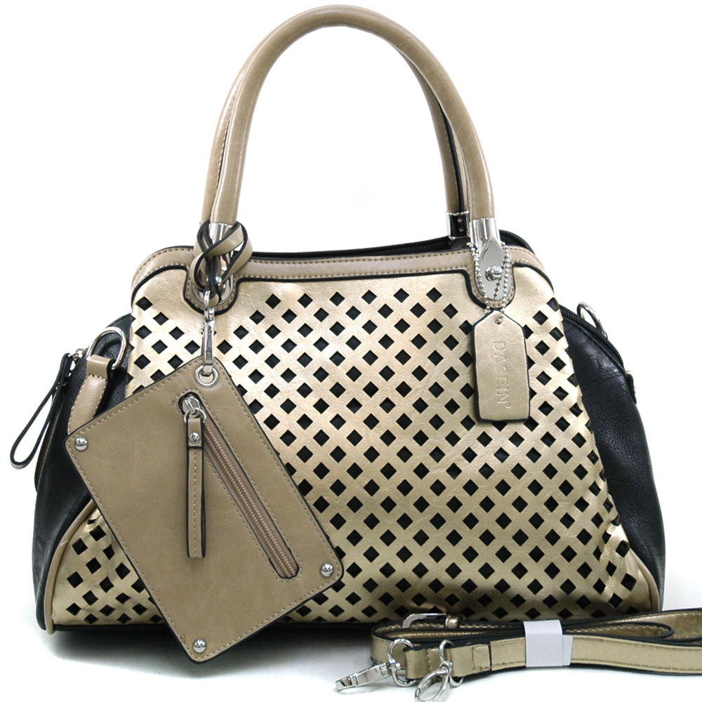 Women's Dasein Two-tone Metallic Contrast Fashion Shoulder Bag w/ Bonus Strap & Coin Pouch