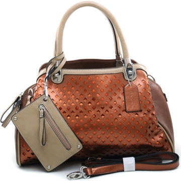 Women's Two-tone Metallic Contrast Fashion Shoulder Bag w/ Bonus Strap & Coin Pouch - Coffee/Brown