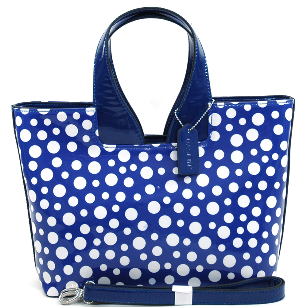 Women's  Sleek Glossy Polka Dot Fashion Satchel w/ Bonus Shoulder Strap - /White