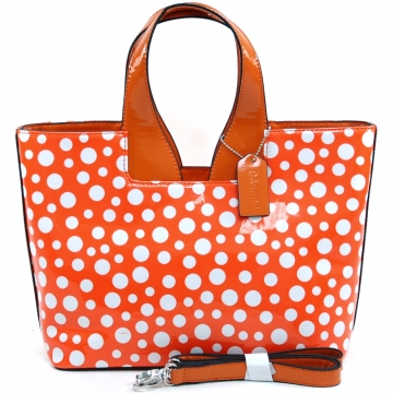 Women's Dasein Sleek Glossy Polka Dot Fashion Satchel w/ Bonus Shoulder Strap - Orange/White