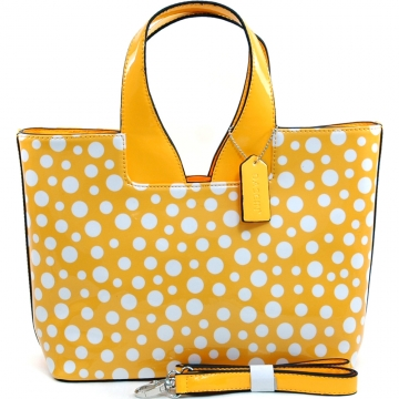 Women's Sleek Glossy Polka Dot Fashion Satchel w/ Bonus Shoulder Strap - Yellow/White