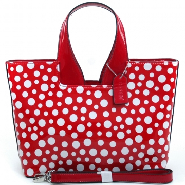 Women's Sleek Glossy Polka Dot Fashion Satchel w/ Bonus Shoulder Strap - Red/White