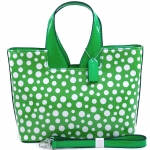 Women's Dasein Sleek Glossy Polka Dot Fashion Satchel w  Bonus Shoulder Strap - Green White