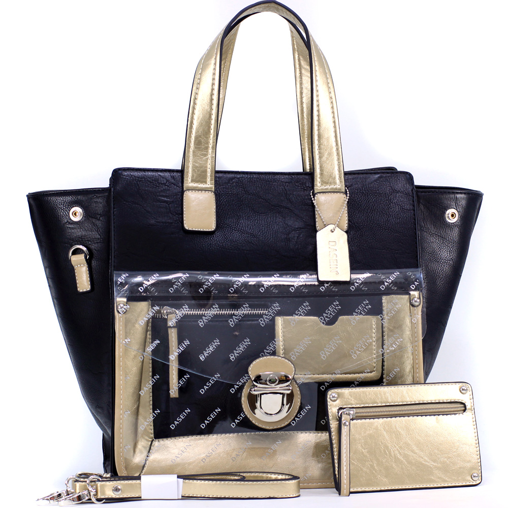 Dasein Women's Two-tone Metallic Contrast Tote Bag with Coin Pouch, Transparent Front Compartment & Bonus Strap