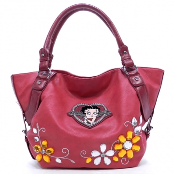 Classic Betty Boop® Tote Bag w/ Flower Gemstone & Rhinestone Heart  - Fuchsia