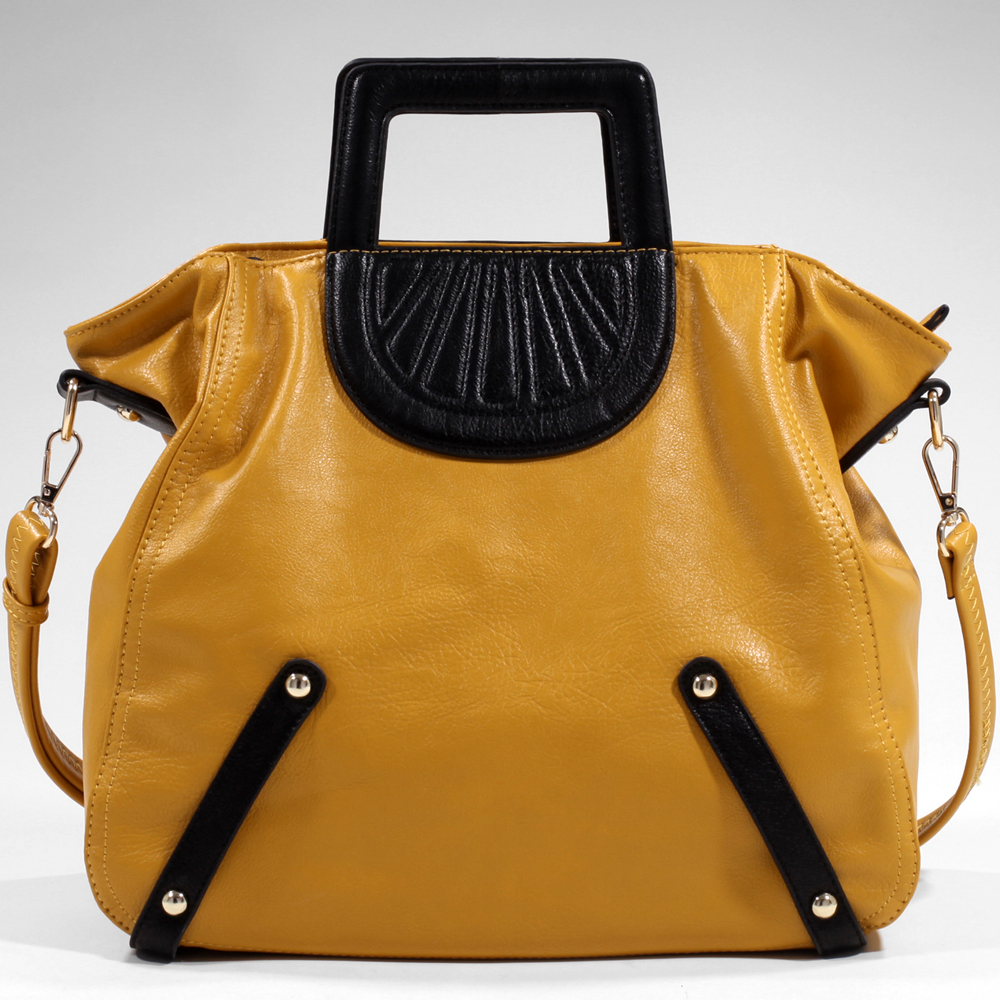 Women's Tall Carrying Fashion Satchel with Stitch Accents & Bonus Strap - Mustard