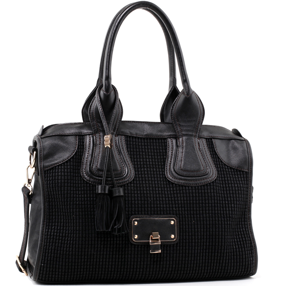 Women's Classic Faux Leather Shoulder Bag with Textured Front & Tassel Accent - Black