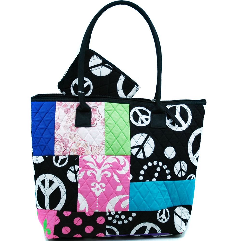 Fashlets Generic Quilted Patchwork Peace Sign Tote