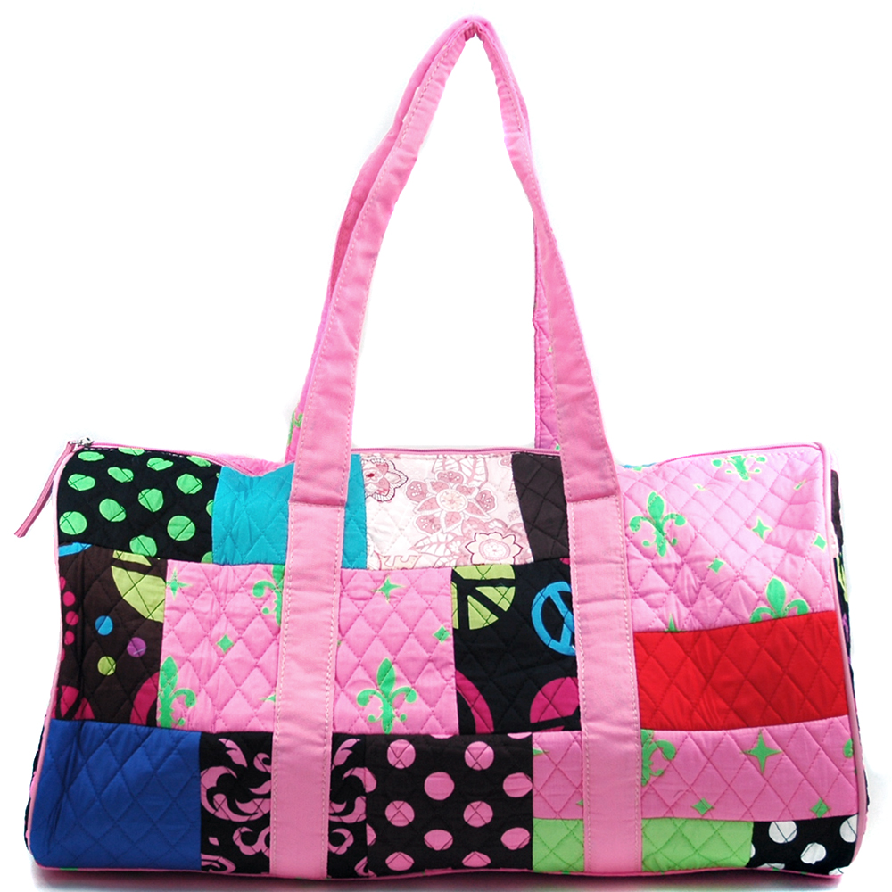 Fashlets Generic Quilted Patchwork Duffel Bag With Bonus Makeup Bag