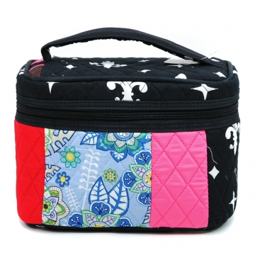 Women's Patchwork Quilted Cosmetic Bag - Black/White