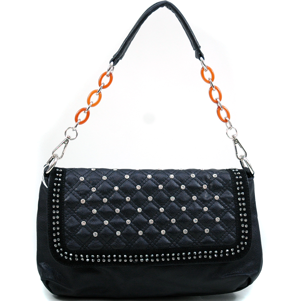 U Style® Quilted Rhinestone Flap Shoulder Bag