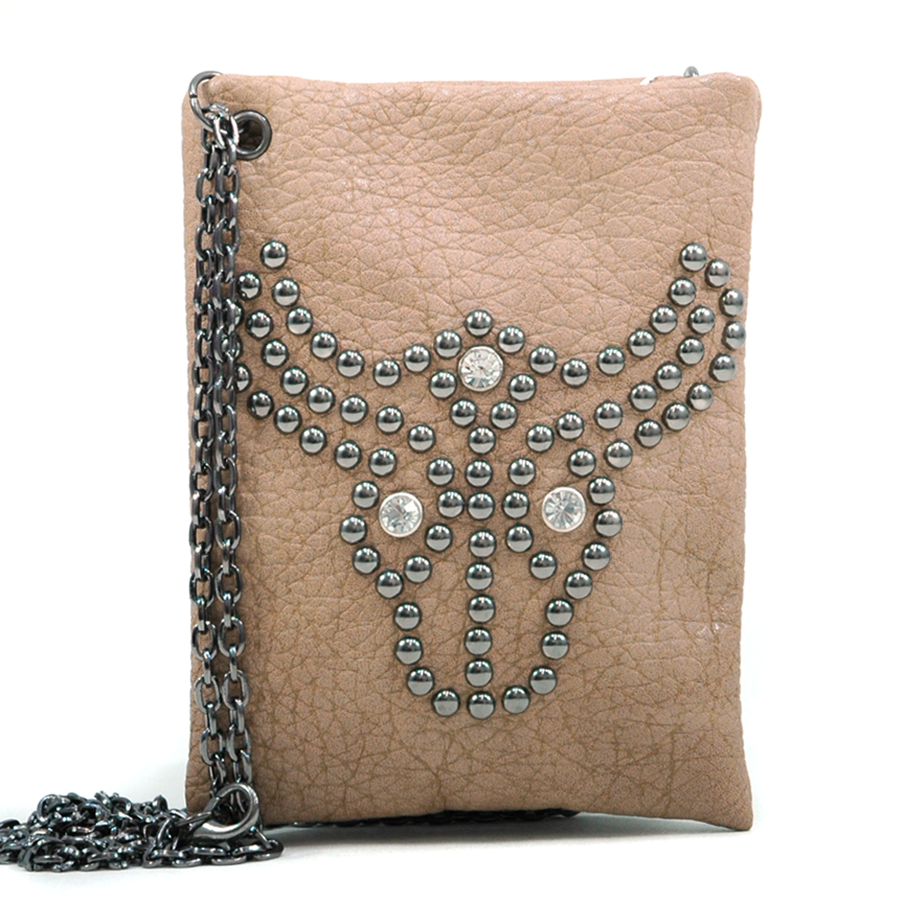 U Style® Studded Bull's Head Messenger Bag