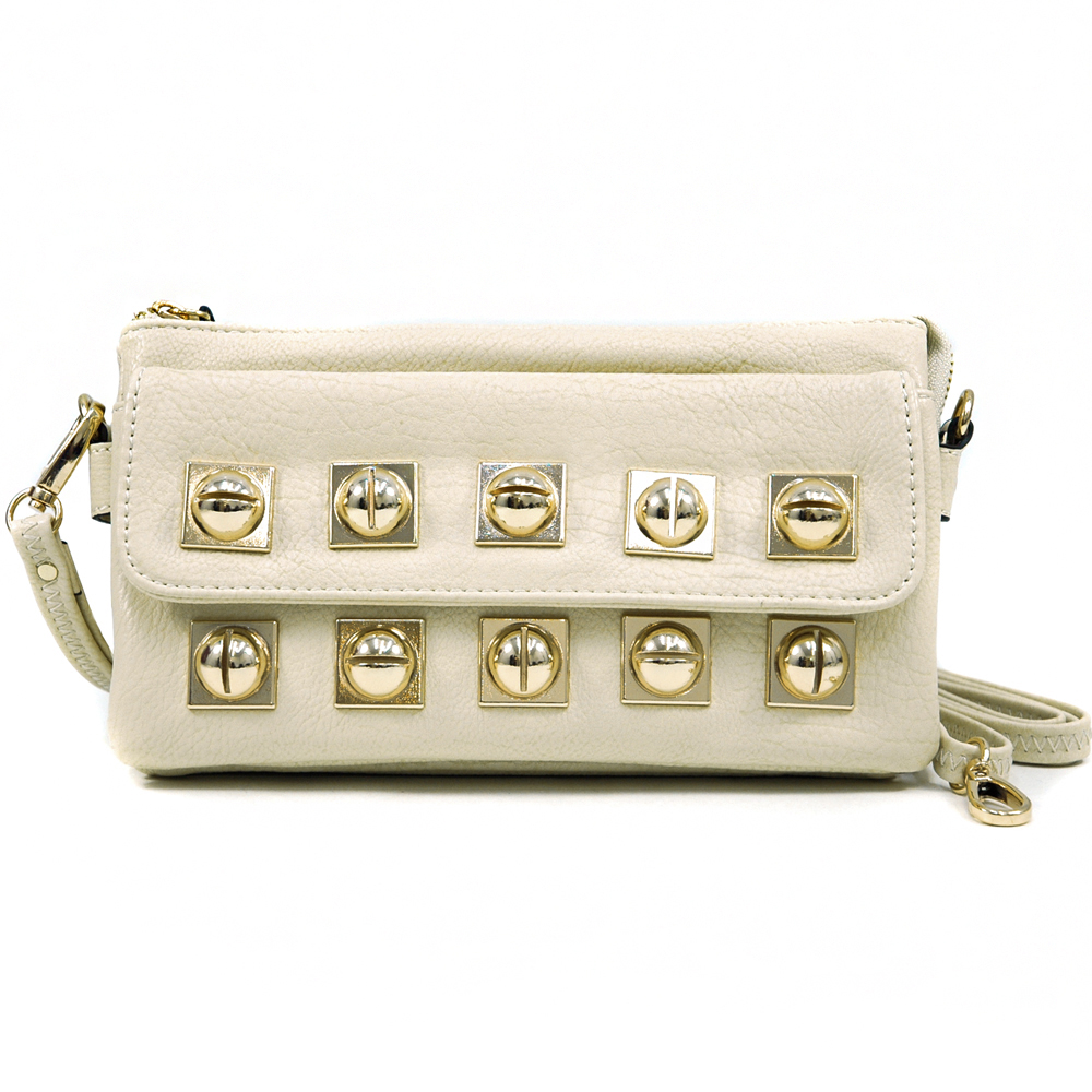 Golden Sphere Studded Clutch