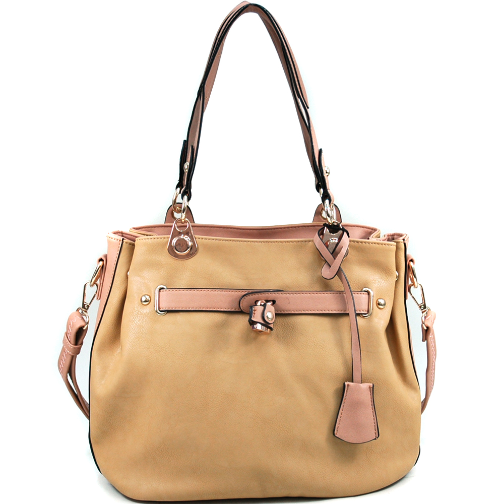 Women's Classic Belted Tote with Side Snaps for Expansion - Tan