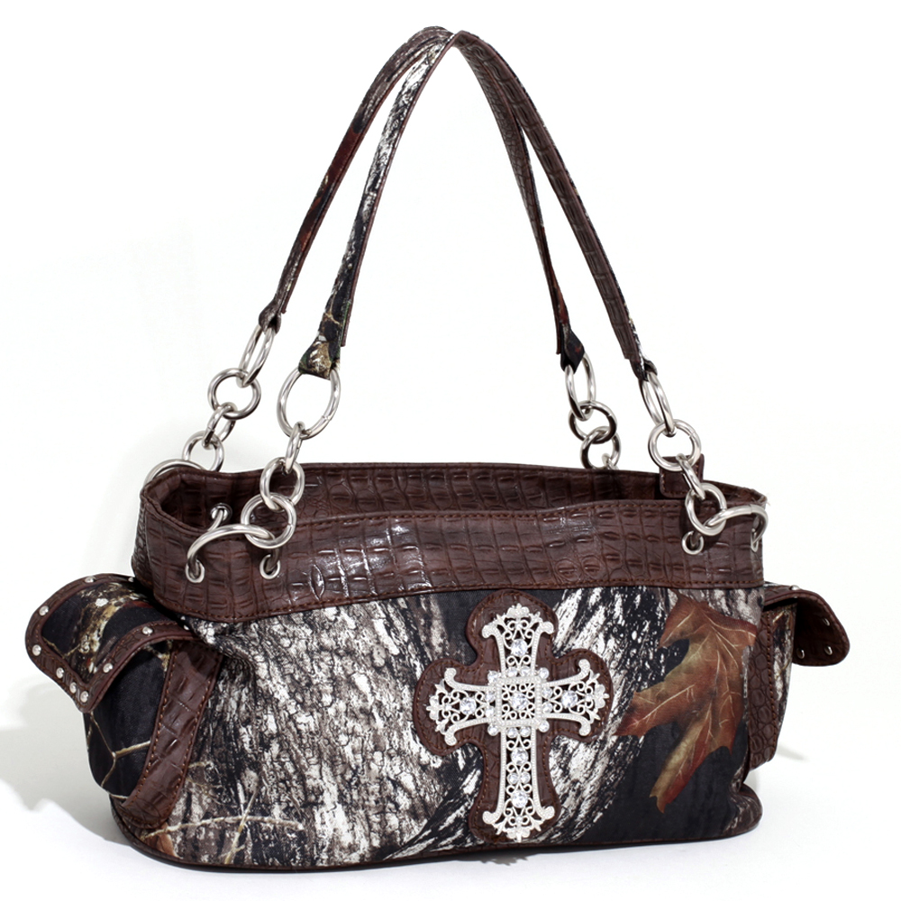 Mossy Oak® Wide Camouflage Shoulder Bag with Rhinestone Cross