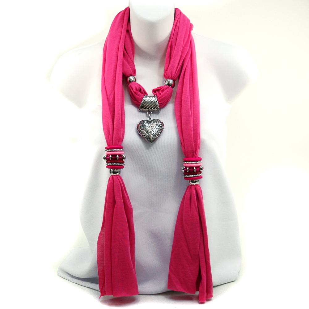 Women's Necklace Style Fashion Scarf with Floral Design Heart Pendant