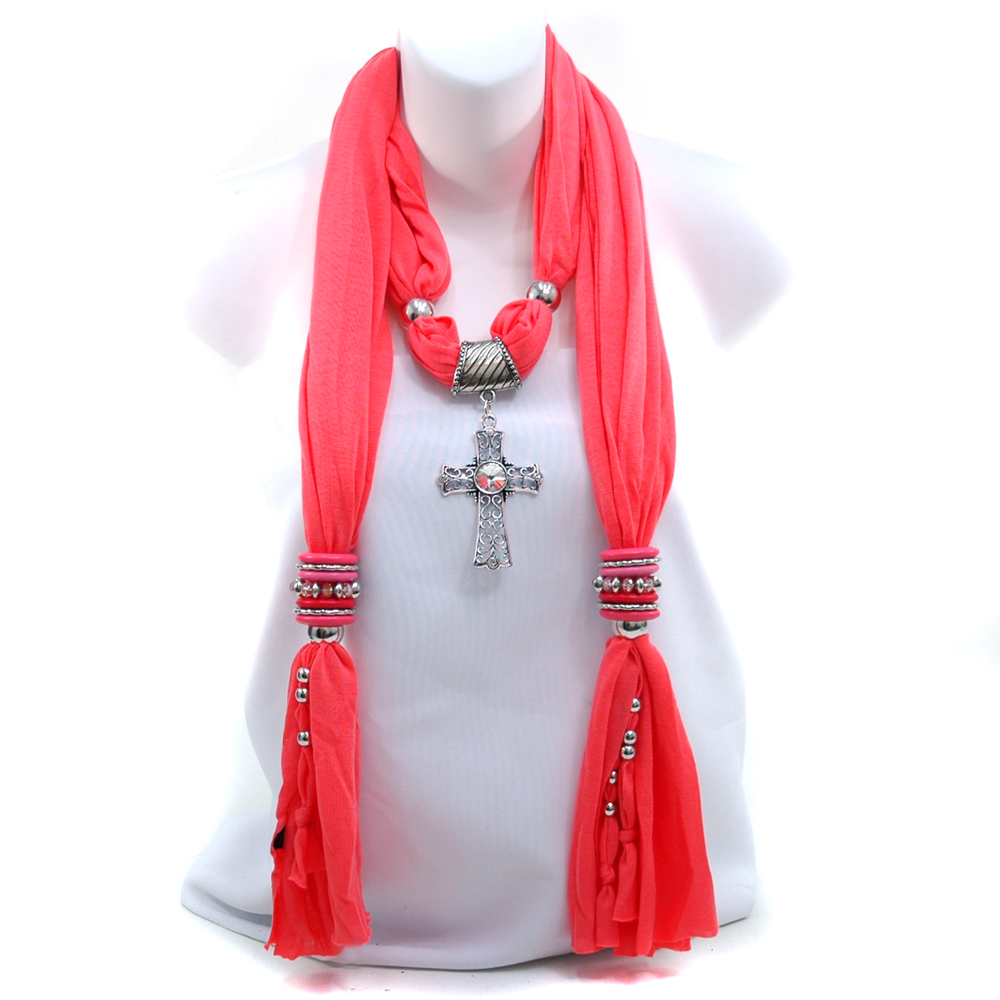 Women's Necklace Style Fashion Scarf with Cross Pendant