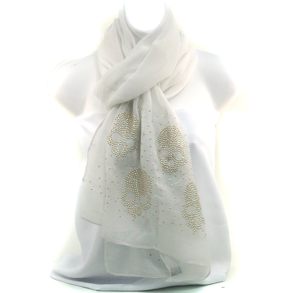 Women's Free End Fashion Scarf with Rhinestone Embellished Skull Design - White