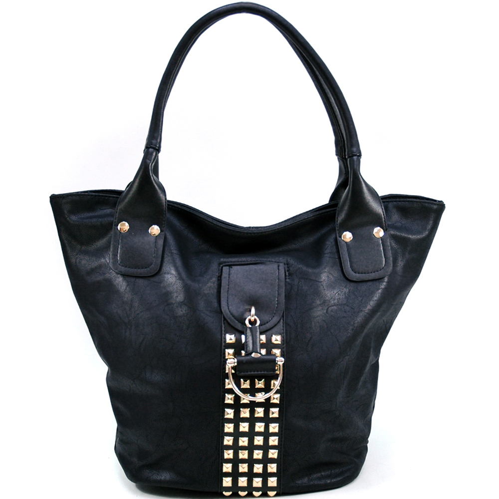 Women's Fashion Tote with Rounded Pyramid Studs & Tassel Accent - Black