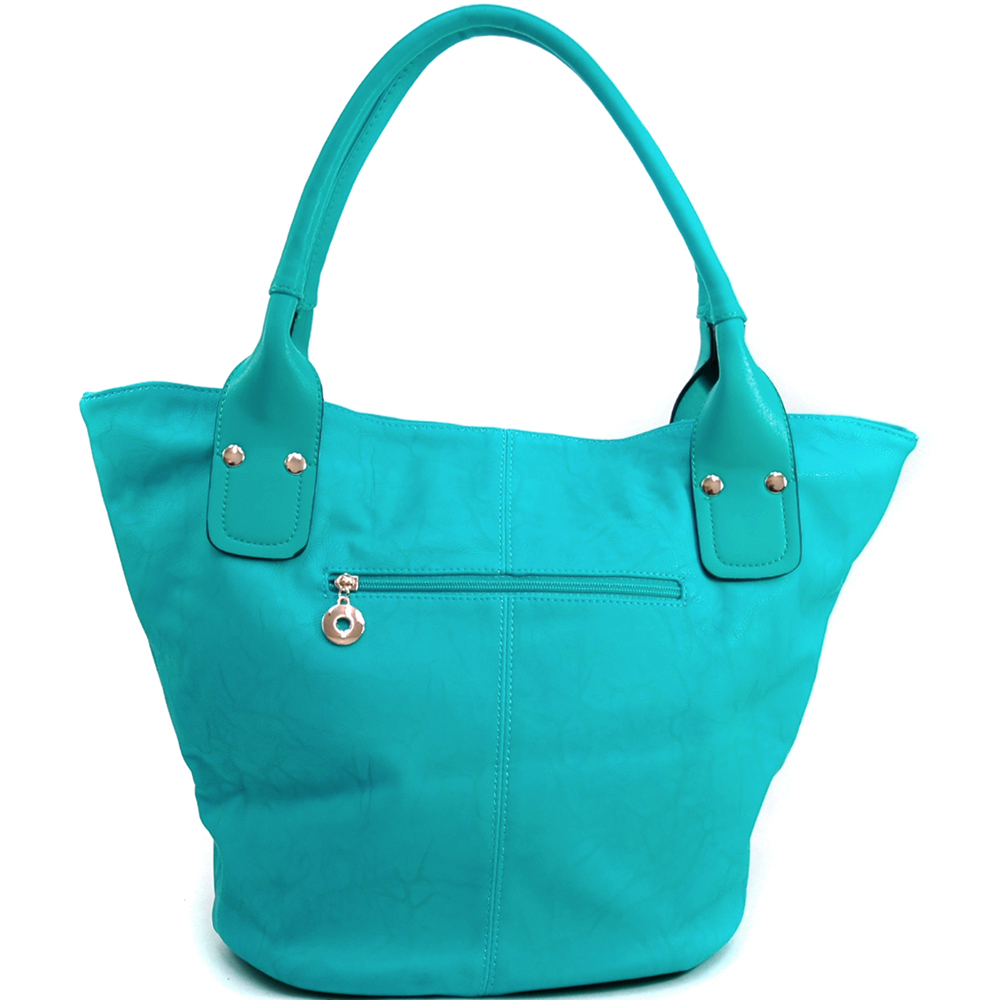 Women's Fashion Tote with Rounded Pyramid Studs & Tassel Accent - Turquoise