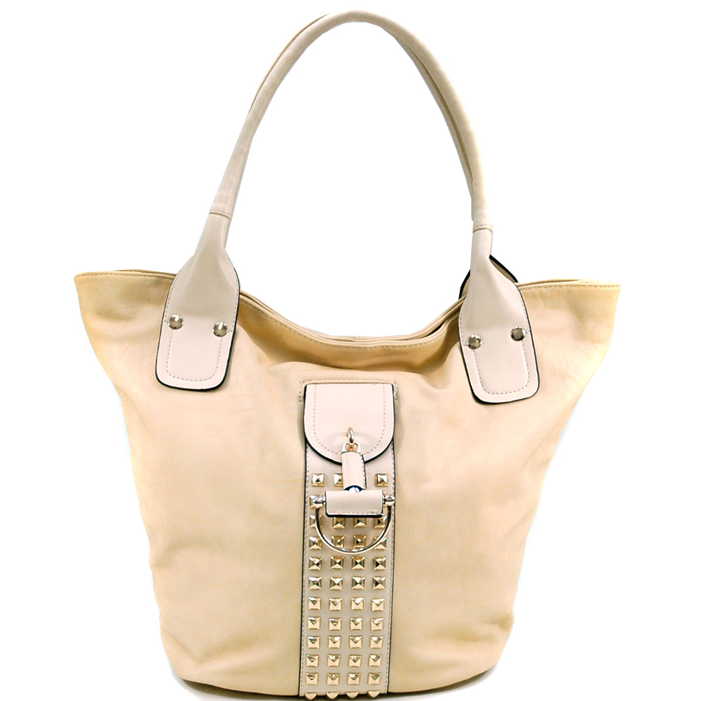 Women's Fashion Tote with Rounded Pyramid Studs & Tassel Accent - Beige