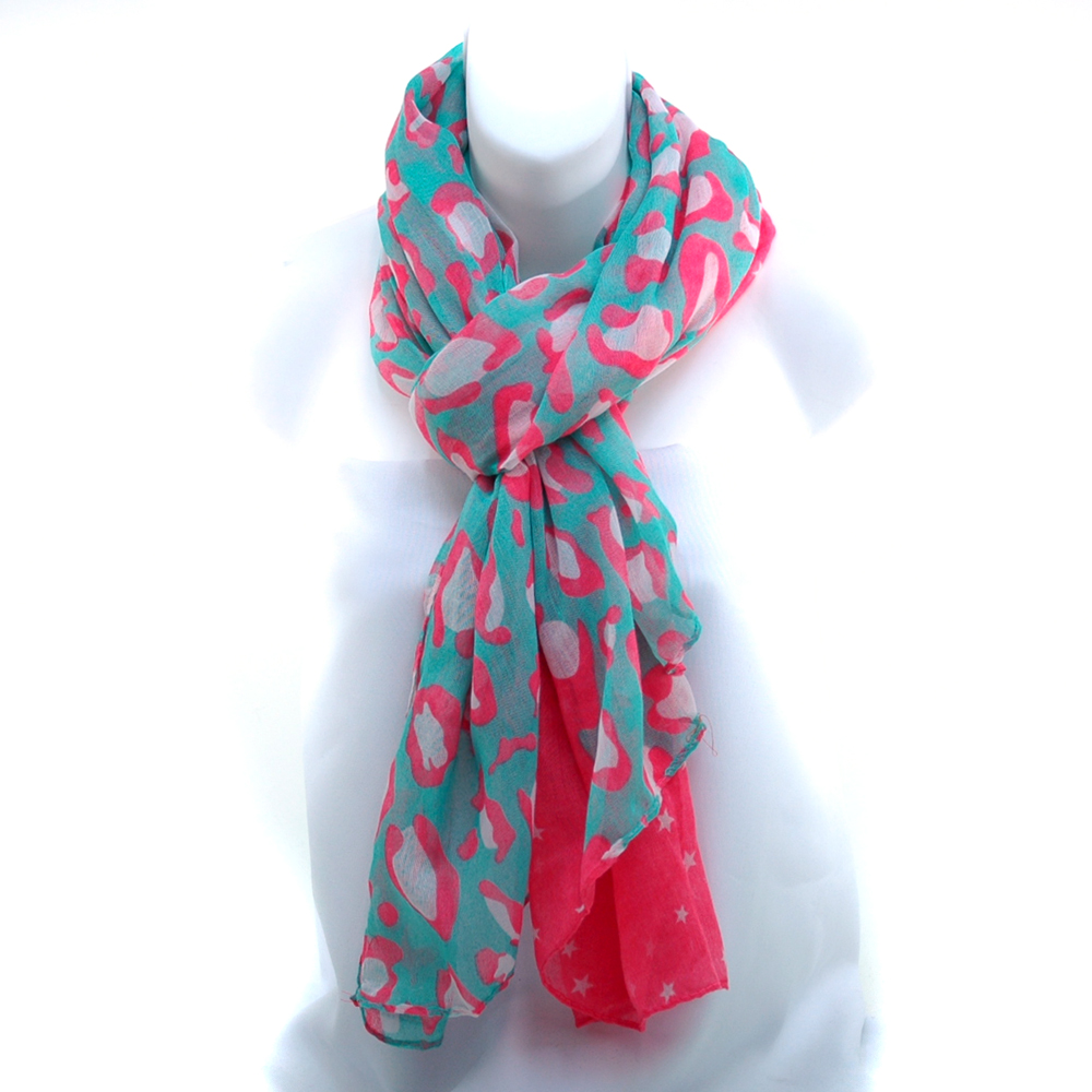Women's Free End Fashion Scarf w/ Star Print & Abstract Design
