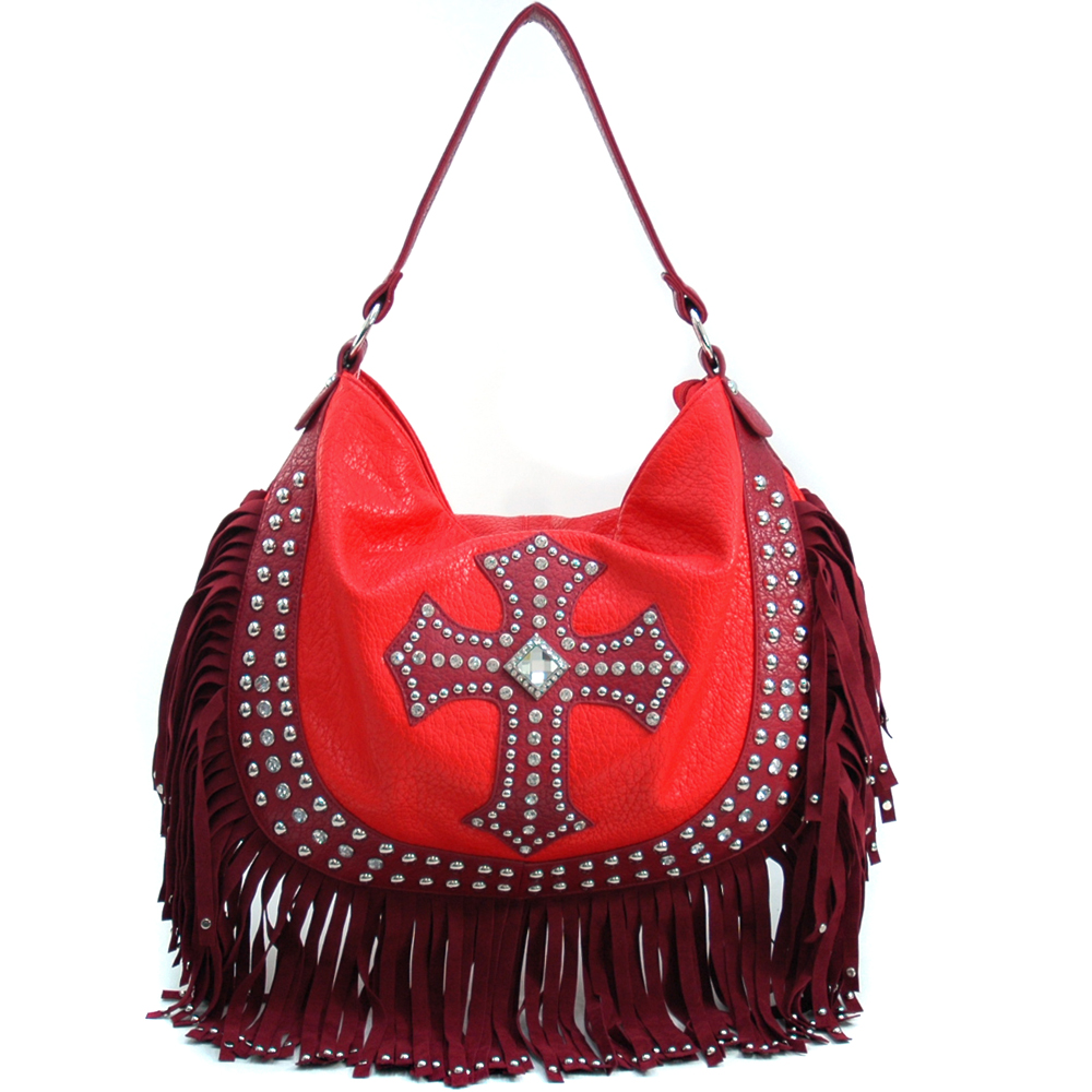 U Style® Minnie Hollow Wood Fringed Hobo