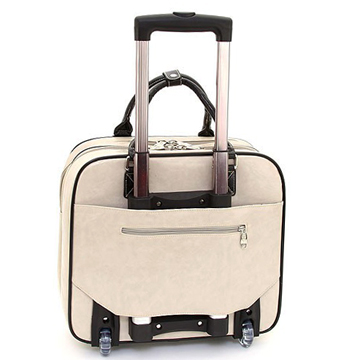 Women's Rhinestone Studded Weekender Luggage with Wheels & Extendable Handle - Beige