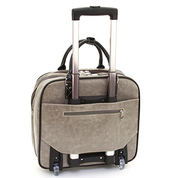 Women's Rhinestone Studded Weekender Luggage w/ Wheels & Extendable Handle - Taupe