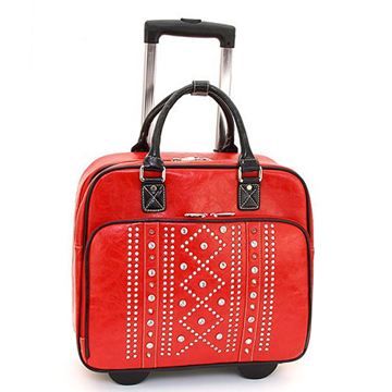Women's Rhinestone Studded Weekender Luggage with Wheels & Extendable Handle - Red