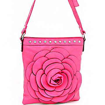 Women's Flower Accented Messenger Bag w/ Stud and Rhinestone Accents - Pink