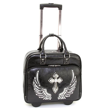 Women's Western Rhinestone Cross Weekender Luggage with Wheels & Extendable Handle - Black