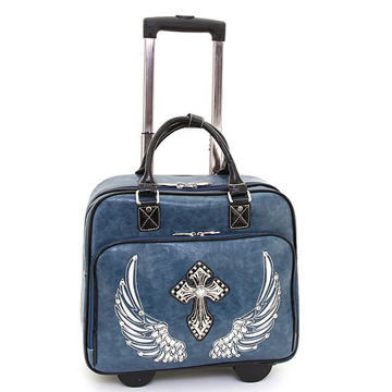 Women's Western Rhinestone Cross Weekender Luggage with Wheels & Extendable Handle - Blue