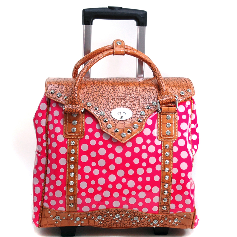 Women's Croco Trim Polka Dot Embellished Weekender Luggage with Wheels & Extendable Handle - Pink