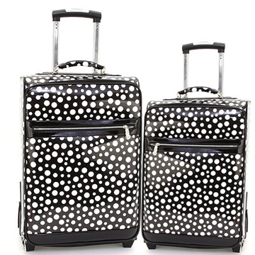 Women's Polka Dot 2-Piece Luggage Set w/ Wheels & Extendable Handle - Black