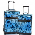 Women's Polka Dot 2-Piece Luggage Set w  Wheels   Extendable Handle - Turquoise