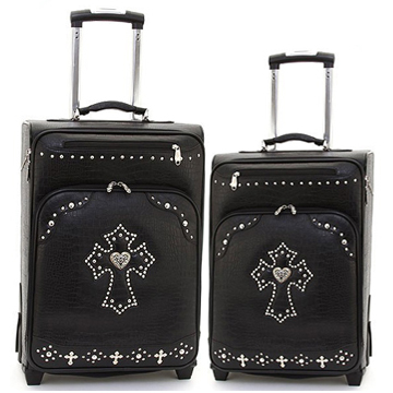 Women's Croco Western Cross 2-Piece Luggage Set w/ Wheels & Extendable Handle - Black