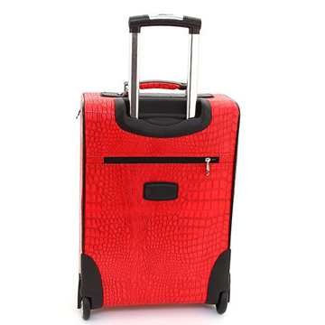 Women's Croco Western Cross 2-Piece Luggage Set w/ Wheels & Extendable Handle - Red