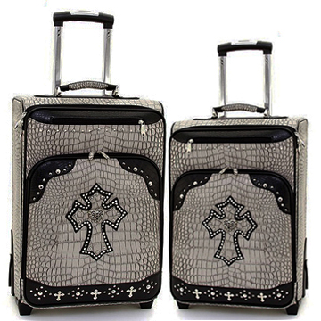 Women's Croco Western Cross 2-Piece Luggage Set w/ Wheels & Extendable Handle - Grey