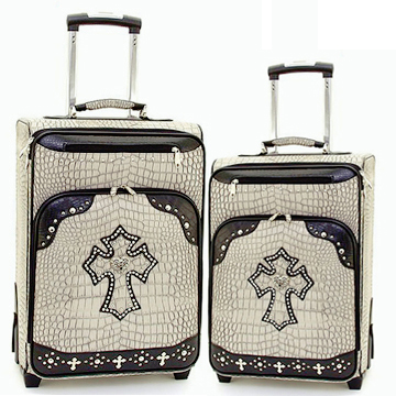Women's Croco Western Cross 2-Piece Luggage Set w/ Wheels & Extendable Handle - Beige