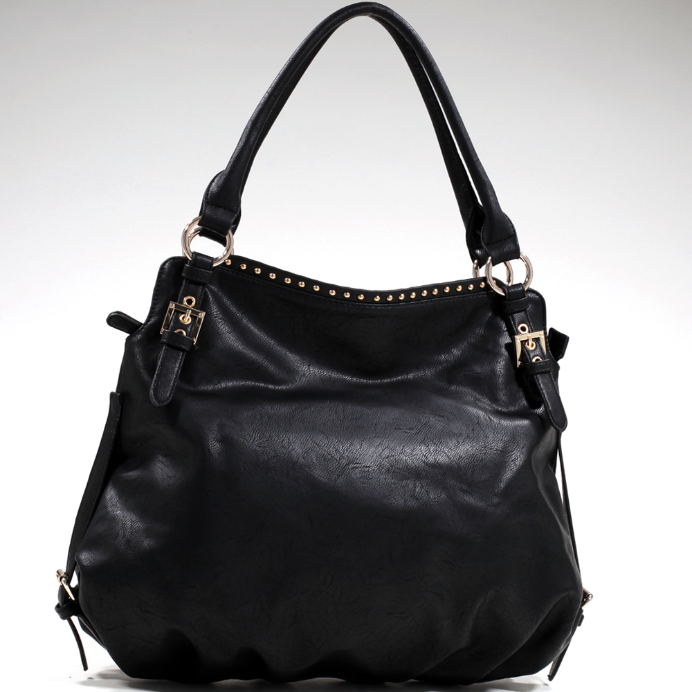 Women's Classy Studded Fashion Shoulder Bag - Black/Black