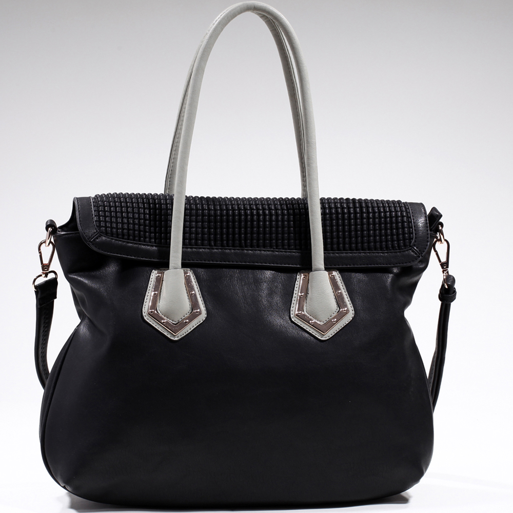 Women's Classic Two-Tone Shoulder Bag with Bonus Strap - Black/Light Grey