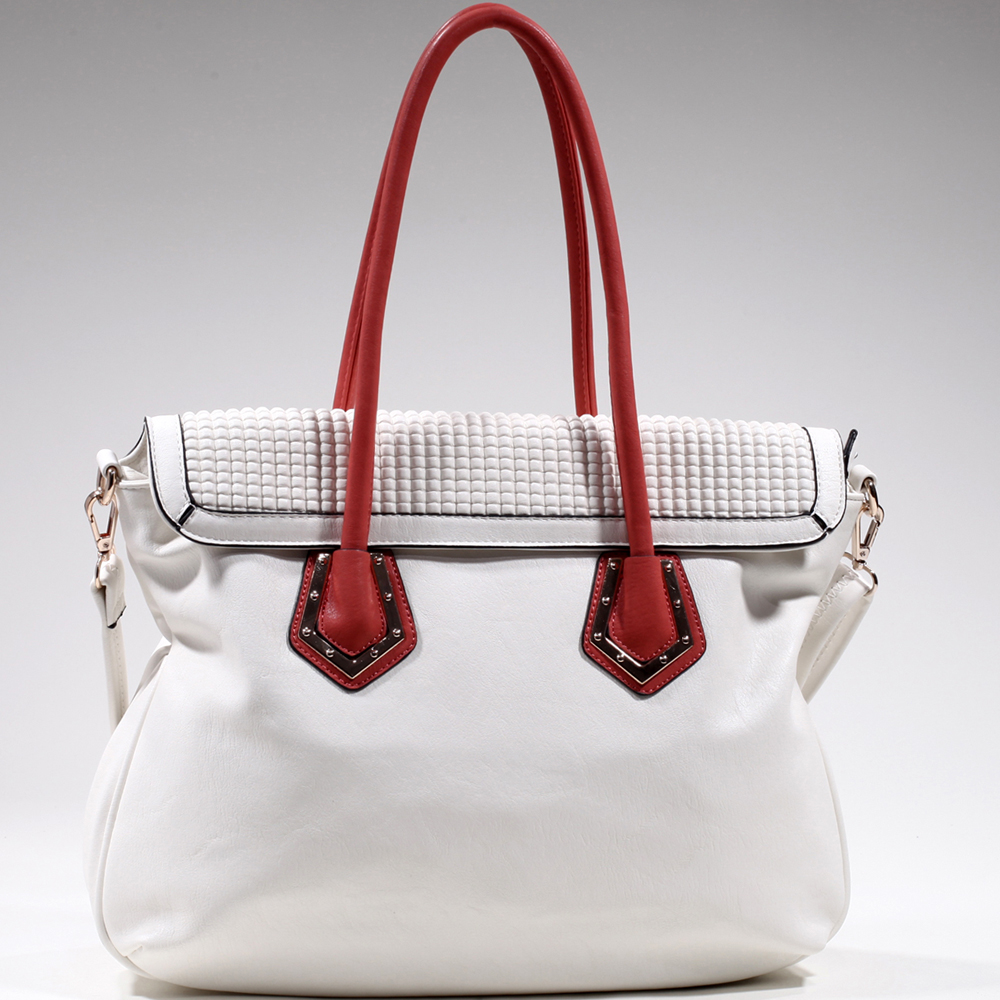 Women's Classic Two-Tone Shoulder Bag w/ Bonus Strap