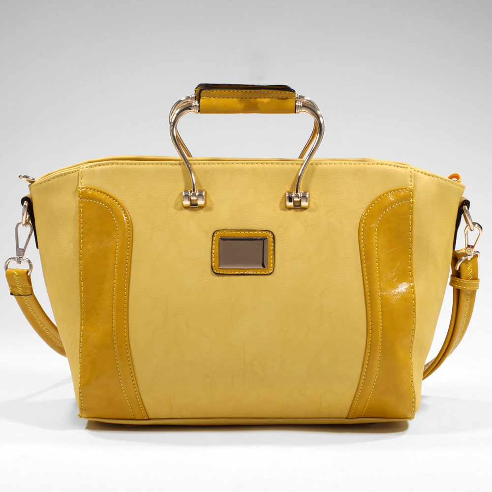 Women's Elegant Fashion Satchel with Gold-Kissed Accents & Bonus Strap - Mustard