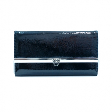 Daasein Fashion Fold Over Flap with Flip Clasp Checkbook Wallet-Navy