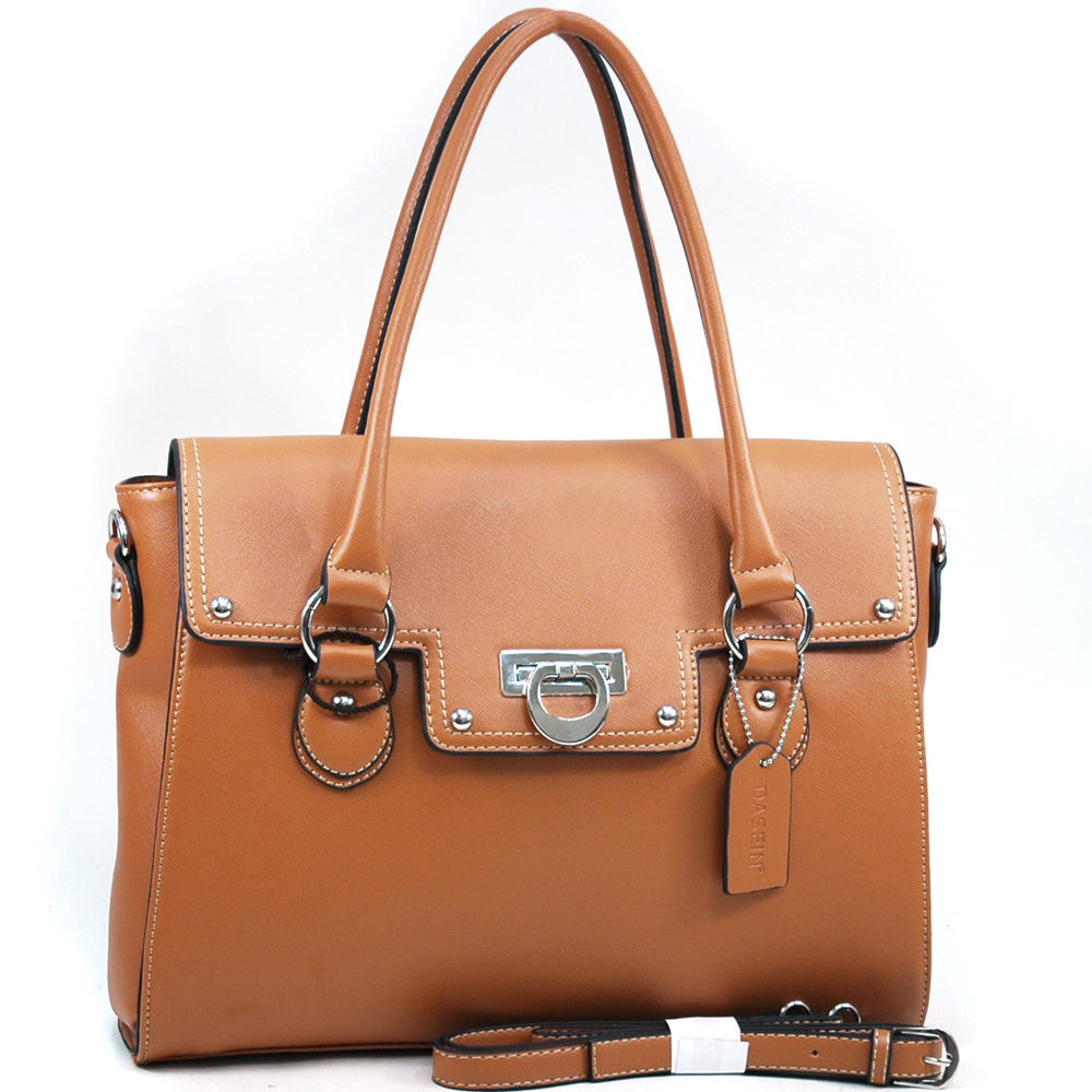 Dasein Women's Briefcase Style Satchel with Flip Clasp Closure and Bonus Strap