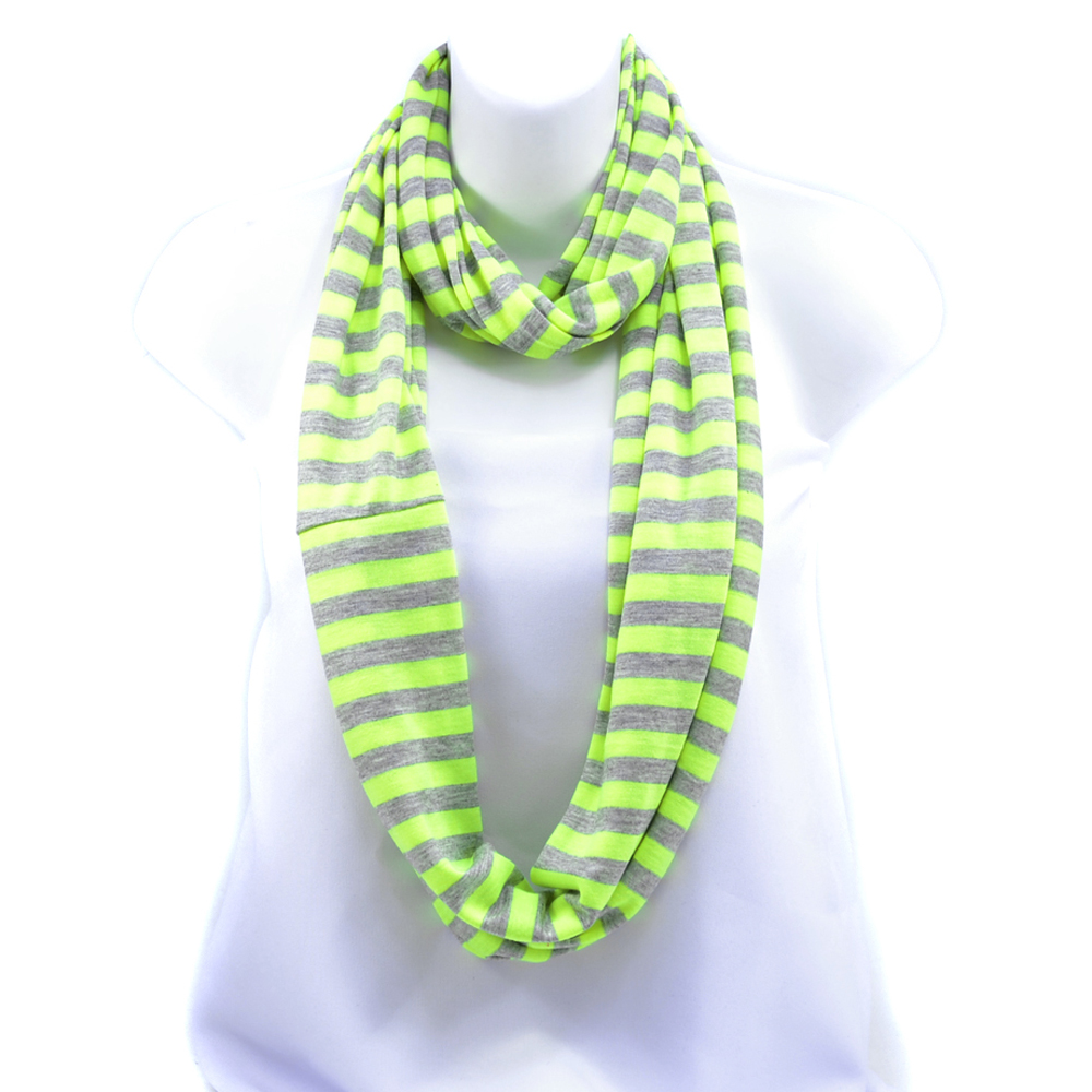 Women's Soft Neon and Grey Strip Loop Scarf - Yellow