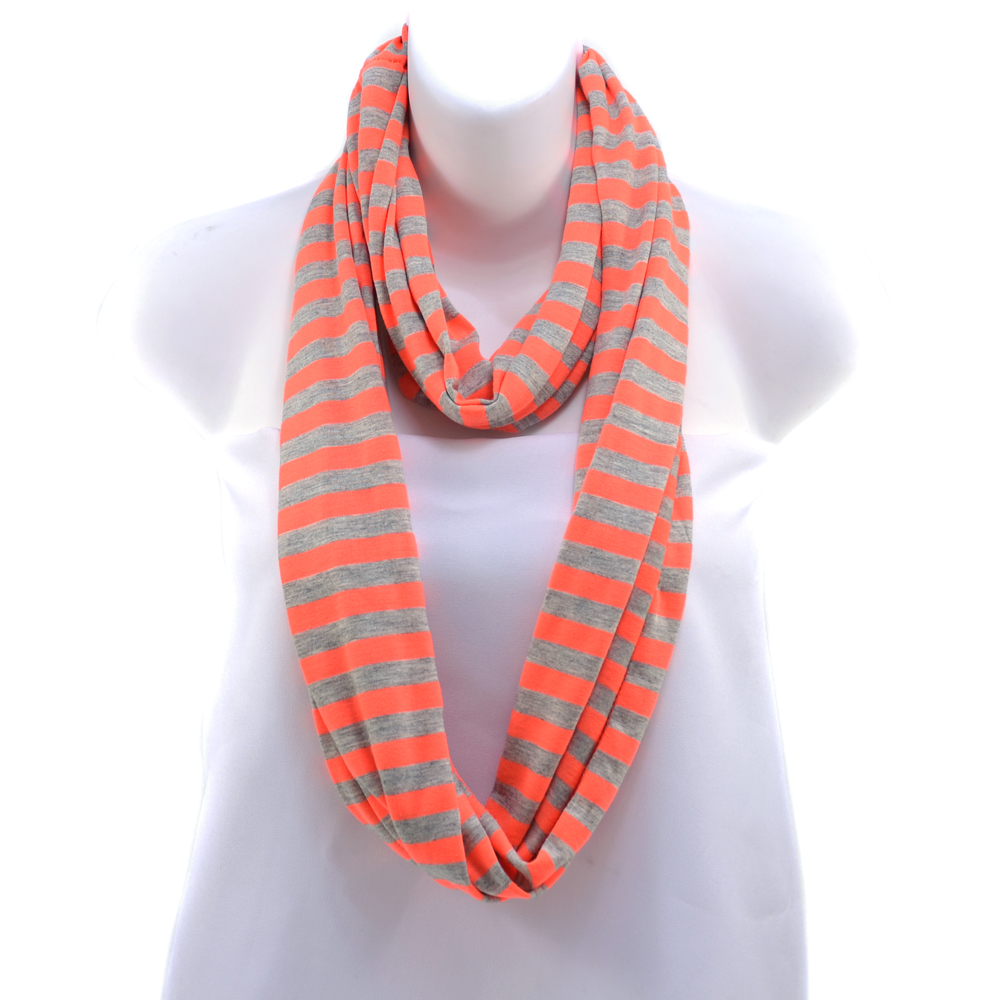 Women's Soft Neon and Grey Strip Loop Scarf - Orange