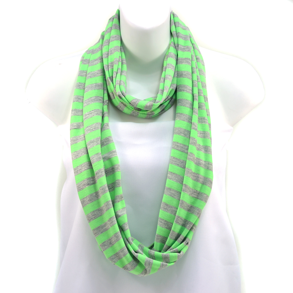 Women's Soft Neon and Grey Strip Loop Scarf - Green