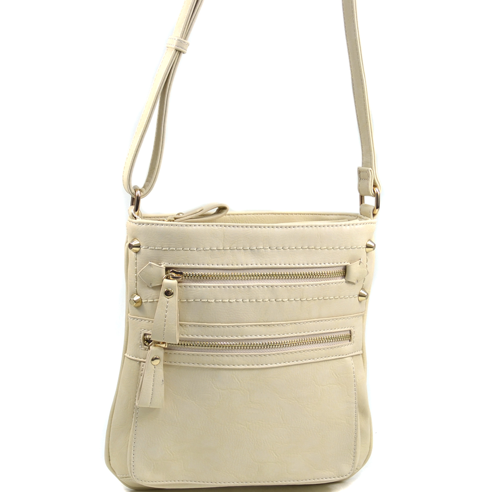 Women's Classic Messenger Bag with Subtle Stud Accents